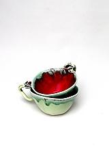 Nádoby - Šálka s podšálkou červeno-zelená (SA 3) - 12534475_