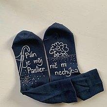 """Obuv - Motivačné maľované ponožky s nápisom: """"Pán je môj pastier!"""" (Tmavomodré) - 12536643_"""