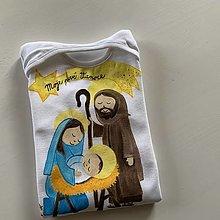 Detské oblečenie - Originalna maľba Svätej rodiny na body s nápisom na želanie v kométe - 12536698_