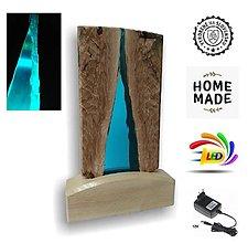 Svietidlá a sviečky - Stolná lampa vyrobená z dreva a epoxidu 9 - 12533738_