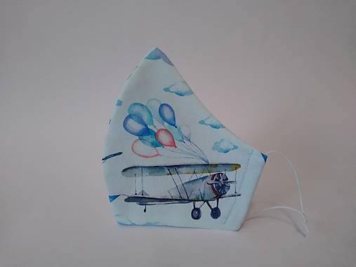 Dizajnové rúško lietadlo výberová bavlna dvojvrstvové tvarované