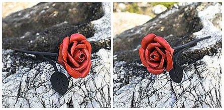 Dekorácie - Malá ruža s listami - 12537607_
