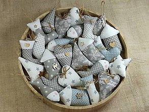 Dekorácie - Vianočné ozdoby šedo biele,sada - 12542500_