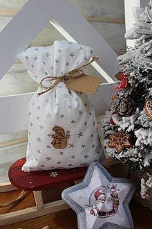 Úžitkový textil - Vianočné vrecko snehuliak - 12539280_