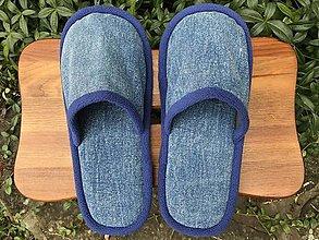 Obuv - Modrinky riflové papuče - 12537263_