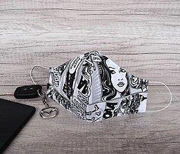 Rúška - Pánske rúško s postriebreným drôtom, komix - 12541615_