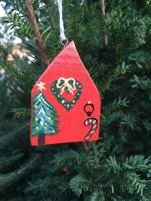 Dekorácie - Vianočné dvere. Domček drevený.. - 12540822_