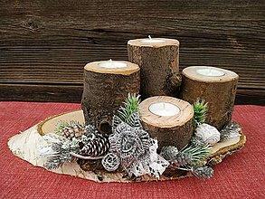Svietidlá a sviečky - Vianočný adventný svietnik - 12540871_