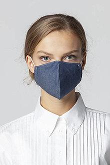 Rúška - Ochranné bavlnené rúško modrá riflovina - 12542267_
