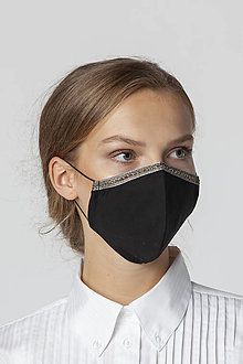 Rúška - Ochranné bavlnené rúško čierne so zlatým lemom - 12542490_