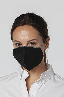 Rúška - Ochranné bavlnené rúško čierne so strieborným lemom - 12542513_