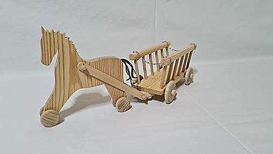 Hračky - Drevený koník s vozom - 12542327_