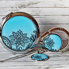 Zrkadielka - sada Jemná elagancia - zrkadielko, háčik na kabelku, záložka - 12539877_