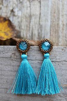 Náušnice - azúrovo-modré s hodvábnymi strapcami - 12540278_