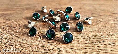 Galantéria - Štrasový gombík - 12 mm (Zelená) - 12545606_