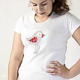 Folk vtáčik - dámske tričko