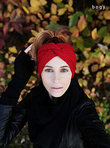 Ozdoby do vlasov - široká červená čelenka, dvojí překřížení 55-58cm - 12545196_
