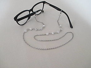 Iné šperky - Retiazka na okuliare - minerál howlit - chirurgická oceľ - 12543285_