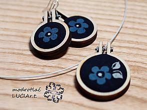Sady šperkov - Set náušnice a náhrdelník MODROTLAČ - 12546970_