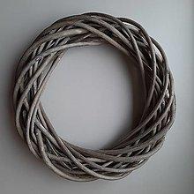 Polotovary - Prútený veniec 30cm - vintage sivý - 12542951_