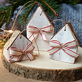 Dekorácie - Biele domčeky s mašličkou - 12543012_