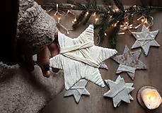 Dekorácie - Biele hviezdy - 12543245_