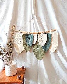 Dekorácie - Makramé Listy Dekorácia (Zelená) - 12544181_
