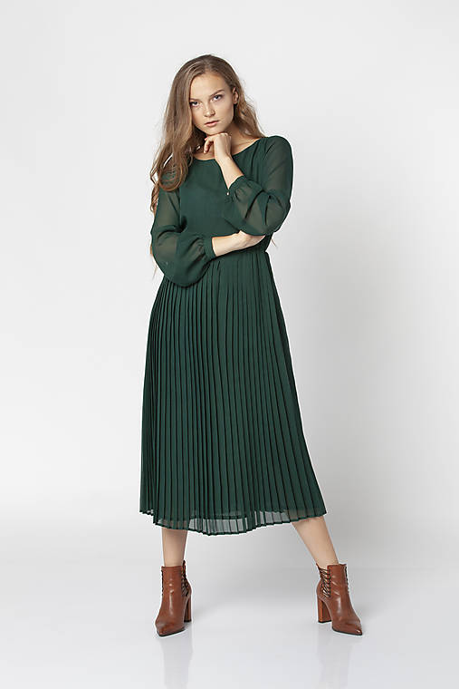 Šaty - Smaragdové mušelínové midi šaty SANDRA - 12547835_