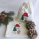 Úžitkový textil - Vianočné vrecúško - domček - 12545930_