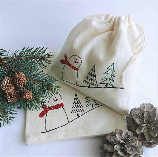 Vianočné vrecúško - snehuliak