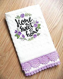 """Úžitkový textil - Vaflová utierka s krajkou """"Home sweet home"""" - 12545389_"""