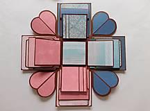 Papiernictvo - Ste muž, som žena - výbušná krabica - fotoalbum pre páry, svadba, výročie, modrá, ružová - 12549836_