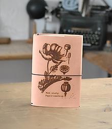 Papiernictvo - kožený midori herbár PAPAVER - 12549310_