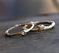 Prstene - Vetvičkový snubný zlaté, s diamantom pre nevestu - 12549792_