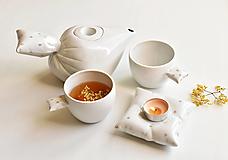 Nádoby - Peřinkový čaj pro dva se zlatým dekorem - 12549852_