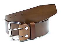 Opasky - Široký kožený opasok na dvojité zapínanie - 12549880_