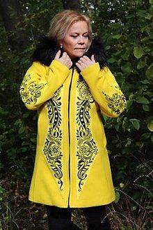 Kabáty - Ručne maľovaný dámsky kabát - 12550383_