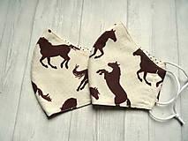 Rúška - Bavlnené rúška  Unisex (Hnedé kone na smotanovej) - 12554070_