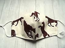 Rúška - Bavlnené rúška  Unisex (Hnedé kone na smotanovej) - 12554073_
