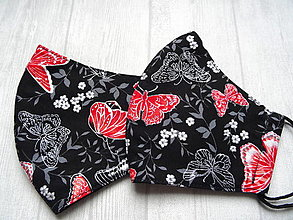 Rúška - Bavlnené rúška...  Magic (Červené motýle na čiernej + strieborný efekt) - 12553976_