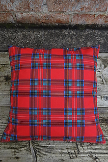 Úžitkový textil - Károvaná červeno modrá obliečka na vankúš - 12555341_