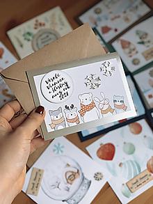 Papiernictvo - Vianočná pohľadnica Vianočné zvieratká - 12555051_