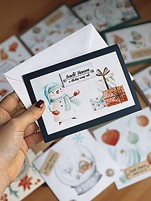 Papiernictvo - Vianočná pohľadnica Snehuliak - 12555615_