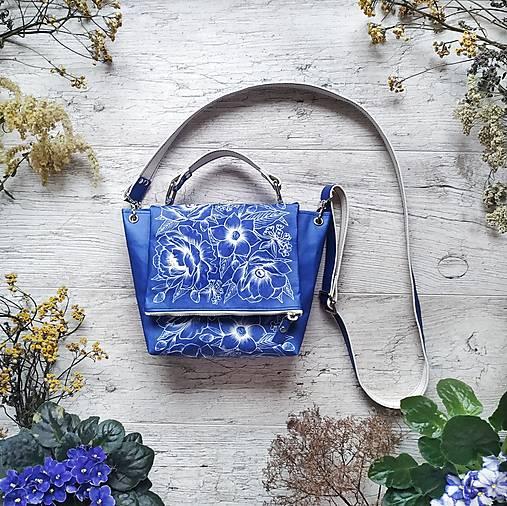Kabelka SWEET BAG - modré kvety v linke