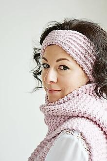 Čiapky - Ručne pletená vlnená čelenka - 12556067_