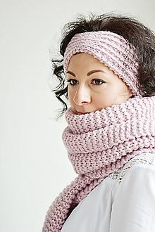 Šály - Ručne pletený vlnený šál - ružový - 12556191_