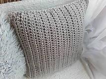 Úžitkový textil - Háčkovaný vankúš VIDIEK svetlá béžová - 12555528_