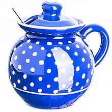 Nádoby - Dóza na med s uchem puntík modrá - 12557319_