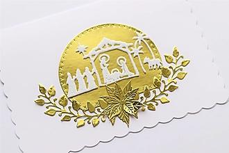 Papiernictvo - Vianočná pohľadnica-Betlehem-zlatá - 12553687_