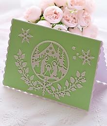 Papiernictvo - Vianočná pohľadnica-Svätá Rodina-zelená - 12556336_